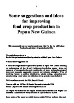 Suggestion on Food Production